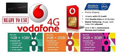 Bereits Aktiviert: Vodafone NL Prepaid SIM Karte mit €5 Guthaben   4G / LTE Europa   Kostenlose 4G-Daten-Roaming in: 31 Ländern (EU + EWR incl. die Schweiz)   Tethering, VoIP, Skype verfügbar (Sim-karten Europa Für)