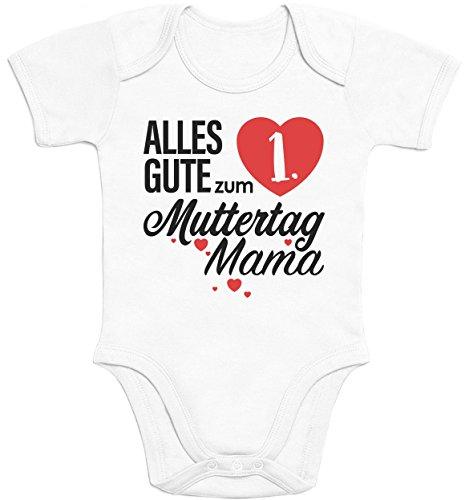 Shirtgeil Muttertagsgeschenk - Alles Gute zum 1. Muttertag Mama Baby Body Kurzarm-Body 57/68 (3-6M) Weiß