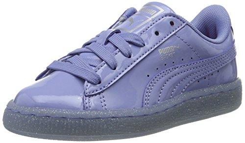 Puma Unisex-Kinder Basket Patent Iced Glitter Ps Low-Top Blau (lavendar lustre-lavendar lustre 02)