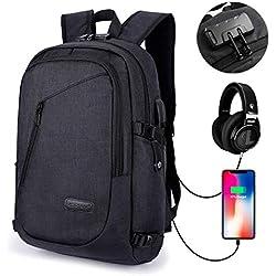Mochila Antirrobo para Ordenador o iPad hasta 15.6 Pulgadas, con USB Puerto y Puerto de Auriculares, Impermeable, Ideal para Estudiantes/Negocios/Viajes, 28cm x 18cm x 50cm/ 19.7 x 11 x 7, Negro