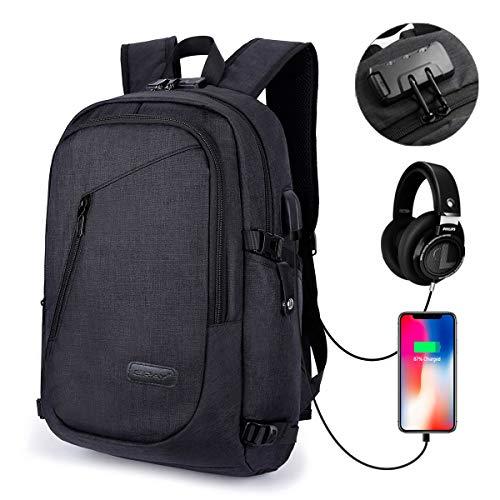 Mochila Antirrobo para Portátil 15.6 Pulgadas, con USB Puerto y Puerto de Auriculares, Impermeable, Ideal para Estudiantes/ Negocios/ Viajes, 28cm x 18cm x 50cm/ 19.7 x 11 x 7', Negro