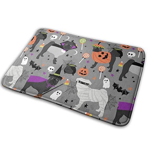 OOworld Fußmatte Benutzerdefinierte maschinenwaschbare Fußmatte Schwarzer Mops Halloween Kostüm Stoff - Süße Hunde In Kostümen Stoff - Hellgrau Innen/Außen 16 x 24 Zoll, 40 cm x 60 cm