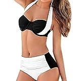 UFACE Damen Bikini Set Sexy Halter Bademode Zweiteilige Badeanzug - Push Up Badeanzüge Top Rüschen mit Hoher Taille Schlank Bottoms Set
