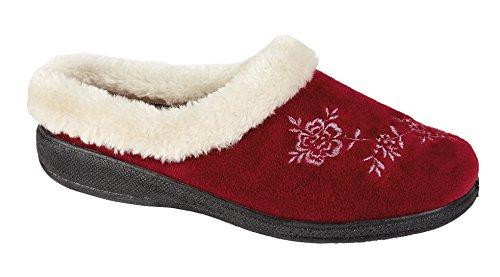Four Seasons Coolers Damen Hausschuhe Slipper, Shoes Damen, Memory-Schaum, erhältlich in den Größen 35, 5-42 Burgunderrot