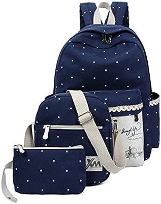 Minetom Backpack Mochilas Escolares Mochila Escolar Casual Bolsa Viaje 3 Piezas Embrague Bolsa De Mensajero Lona