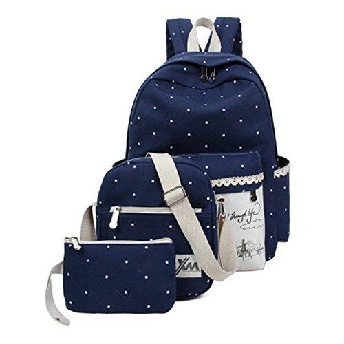 minetom-a-pois-3-pieces-plus-messenger-bag-embrayage-toile-sac-a-dos-loisir-pratique-voyages-scolair
