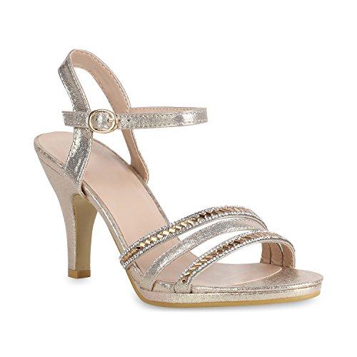 Stiefelparadies Damen Riemchensandaletten Strass Glitzer Schuhe Sandaletten Stiletto High Heels Partyschuhe Abendschuhe 156517 Gold Bexhill 38 Flandell