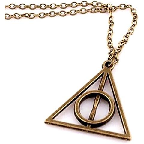 Collar De Color De Bronce Con El TriáNgulo Colgante Y La PiráMide CíRculo Harry Potter