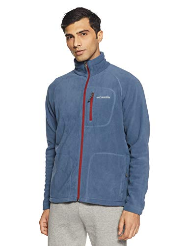 Columbia Fleecejacke für Herren, Fast Trek II Full Zip Fleece, Polyester, Blau (Dark Mountain/Red Element), Gr. XL, 1420421 - Herren 100% Polyester-fleece