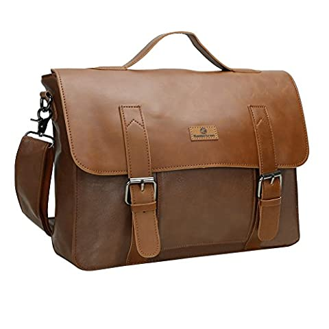 Koolertron Synthetic Leather Briefcase Laptop Bag College Shoulder Messenger Bag Tote Bag Handbag Coss Body Daypack Satchel School Bag