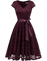 Berylove Damen V-Ausschnitt Kurz Brautjungfer Kleid Cocktail Party Floral Kleid