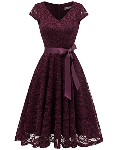 Berylove Damen V-Ausschnitt Kurz Brautjungfer Kleid Cocktail Party Floral Kleid BLP7006BurgundyL