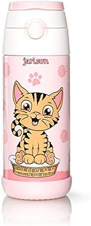 JARLSON® Borraccia Bambini Acciaio Inox, Bottiglia Termica, Senza BPA, Bottiglia Acqua con Cannuccia, Termos 3