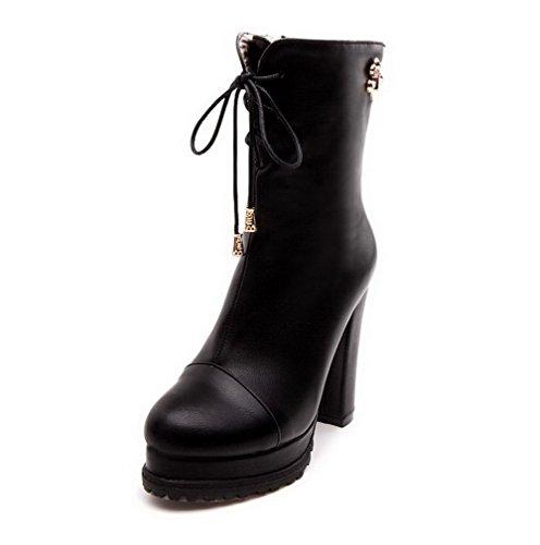 AllhqFashion Damen Niedrig-Spitze Reißverschluss Hoher Absatz Stiefel mit Metallisch, Schwarz, 37