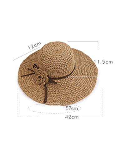 Chapeau de paille tissé d'été de femme chapeau le chapeau de soleil chapeau de plage d'été chapeau de soleil pliable ( Couleur : 3 ) 2