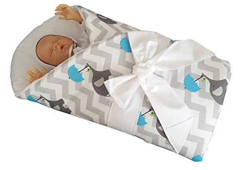 blueberryshop Comfort Wickeltuch/Decke für Neugeborene Baby Bettbezug mit steifem/Hard Back, Blau