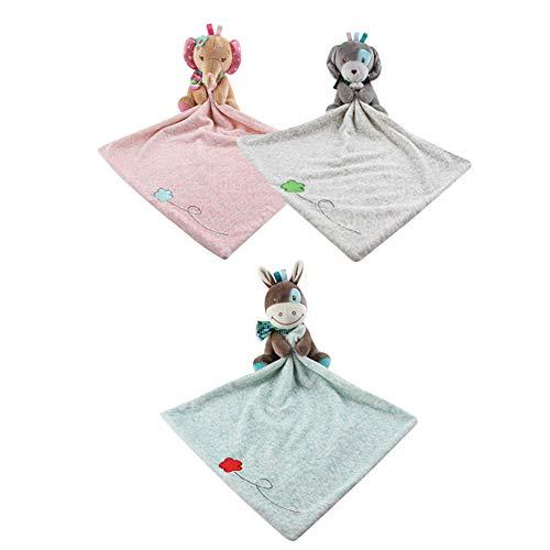 Sicherheits-Decken, beruhigend, weiches Plüsch-Zahntuch, Spielzeug für 0 bis 36 Monate, Baby Kleinkind - Kinder Jungen Mädchen Geschenk (3 Stück)
