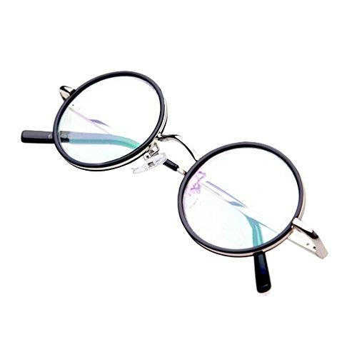 LR100 Antik-Stil Retro Lesebrille Nerd Brille Lesehilfe mit Etui Rund Rahmen +2.0 - Runde Antik