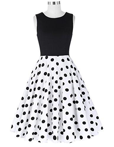 50er jahre kleid vintage rockabilly kleid partykleider hepburn stil polka dots kleid damen swing kleid XL CL0463-2 - 5