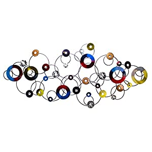 KunstLoft Vivid metal wall art 'No Limit' 59x26x2inches | Large hand-crafted wall decoration | Colourful Black Circles Rings Abstract | Contemporary design picture sculpture mural