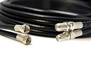BLACK 5m TWIN Coaxial Satellite Extension Cable - suitable for Sky Q, Sky HD and Sky+