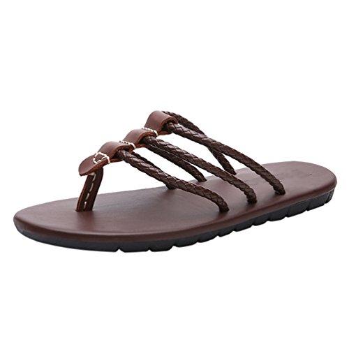 Yuncai uomo infradito moda estate morbido confortevole spiaggia sandali pantofole marrone 39