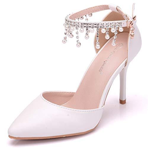 ZPFME High Heel Bridal Summer Mid Heels Damen Damen Sandalen Spitz Stiletto Pumps Knöchelriemen Strass Perle,White-EU40/250 Perlen Sling