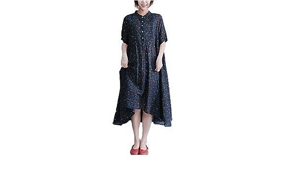 8f267aa7805 Dinier Women s Cotton Linen Plus Size Irregular Checkered Button A-Line  Long Shirt Dress  Amazon.co.uk  Clothing