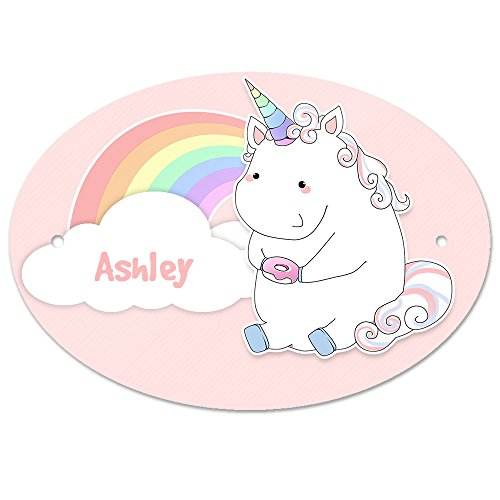 Türschild mit Namen Ashley und Einhorn-Motiv in Pastell-Optik für Mädchen | Kinderzimmer-Schild -