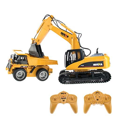 efaso RC Baustellenset 1 - 1:14 RC Bagger 1550 & 1:18 Muldenkipper 1540 - 2,4 GHz Baustellenfahrzeuge mit Licht und Sound, Schaufel aus Metall, Aufnahmemodus und umfangreichen Steuerungsmöglichkeiten
