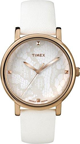 Timex - T2P460 - Montre Femme - Quartz Analogique - Cadran Blanc - Bracelet Cuir Blanc