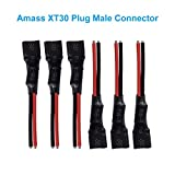 BETAFPV 6pcs Amass XT30 Plug Connector 65mm with 18AWG Silicone Cable for F4 V2 FC BLHeli-32 16A ESC Beta85X Brushless Whoop Drone