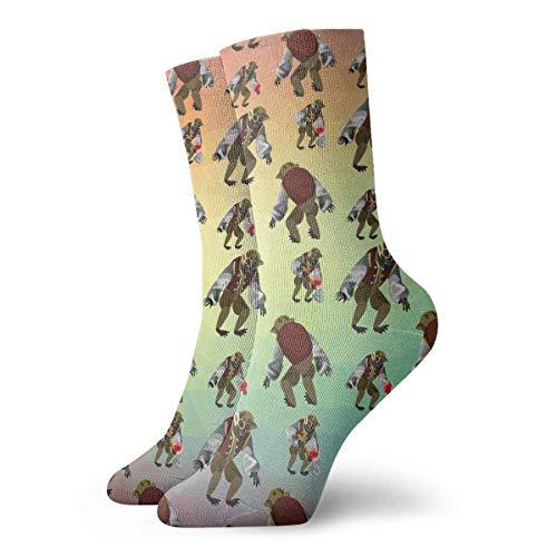 y Crazy Crew Sock Fantasy Zombie Monkey 3D Printed Sport Athletic Socken 30cm Long Personalized Gift Socken ()