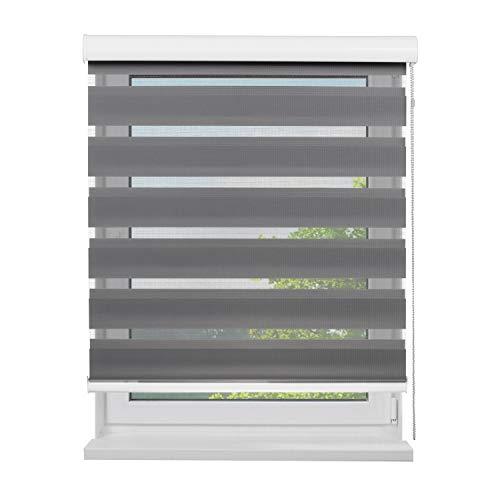 Fensterdecor Doppel-Rollo mit Aluminium-Kassette, Rollo für Fenster mit seitlichem Kettenzug, Seitenzug-Rollo mit Blende in Grau für Innen-Bereich, lichtdurchlässig u. verdunkelnd, 160 x 180 cm