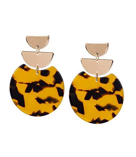 TOSH Auffällige Damen Statement-Ohrringe aus goldfarbenen Ohrsteckern und 1 runden Element in Braun und Gelb in Leoparden-Optik, Animal Print (751-837)