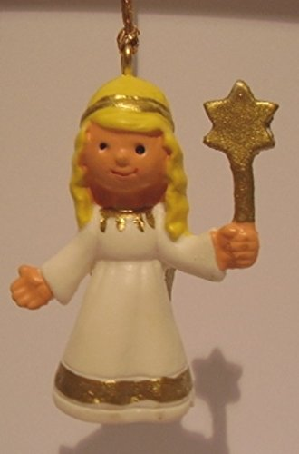 1 Figur Engel gelb gold weiß stehend ca 5x3 cm mit Goldfaden aus Kunststoff