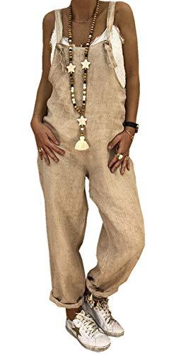 Ajpguot Damen Beiläufig Latzhosen Jumpsuits Leinen Bib Hose Casual Loose Overall Lange Wide Leg Hosen (4XL, Khaki) -