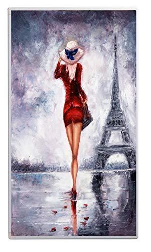 Könighaus 600W/800W/1000Watt Infrarot Bildheizung Ölgemälde (Infrarotheizung mit hochauflösendem Motiv) (1000W-ÖL27 Frau rotes Kleid Eiffelturm)