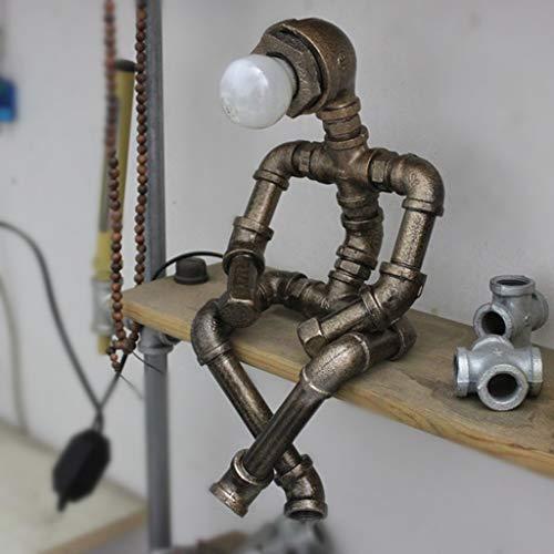 OLDJTK Lampada da Tavolo a LED per la Protezione degli Occhi, Lampada da Tavolo con Lampada da Comodino in Ferro Stile retrò di Robot in Stile Industriale, Lampada da Tavolo per Bar Ristorante e Lu
