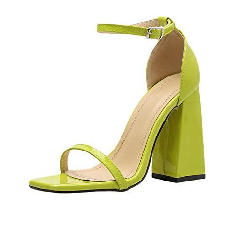 ✿Eaylis Damen Sandalen Schneller Einfarbiger Quadratischer Kopf Mit Hohem Absatz Sommer Strand Schuhe Hausschuhe Stilvoll und elegant -