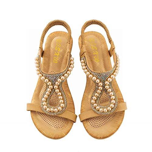 Women Sandals Las Mujeres de Verano Joyas de Diamantes Sandalias Decorativas Simples Mujeres Salvajes...