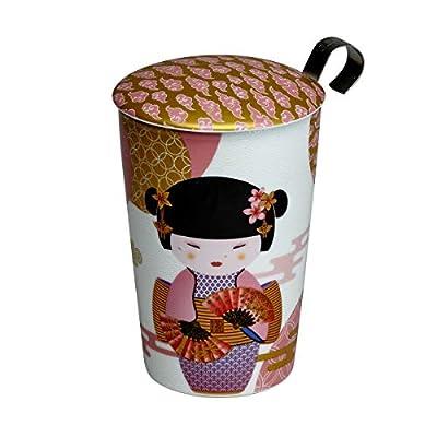 TEAEVE Théière en Porcelaine Geisha Rose de 350 ML avec infuseur INOX et Couvercle