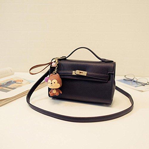 Jamicy Donna moda pelle grande tote bag borsa a tracolla Nero