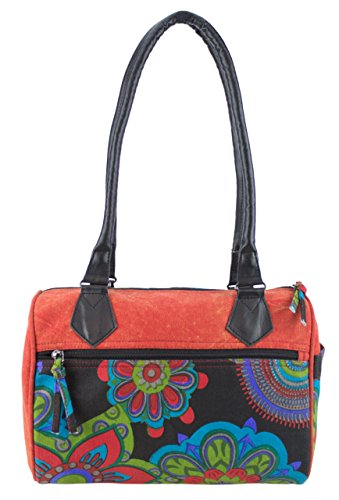 Sunsa Damen Schultertasche Bowlingtasche Canvas Tasche Handtasche 30x27x15 cm (rot schwarz)