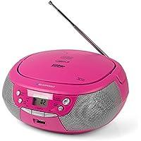 Blaupunkt B 4PLL Boom Box con radio FM PLL, reproductor de CD, puerto USB, AUX IN/MP3| Altavoces estéreo | funcionamiento de red y de batería | Niños Caja de música en rosa