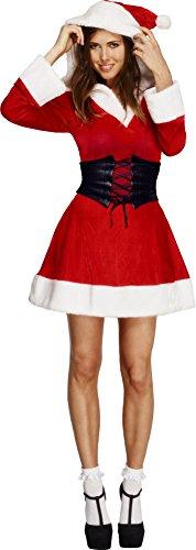 Fever, Damen Weihnachtsfrau Kostüm, Kleid mit Kapuze und -