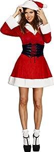 Smiffys-36988M Disfraz Fever de Mamá Noel, Vestido con Capucha y Enagua adjunta, Color Rojo, M-EU Tamaño 40-42 (Smiffy