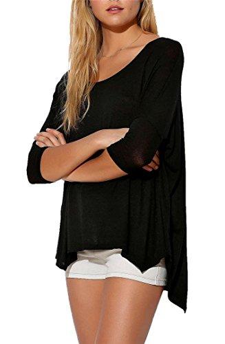 BININBOX® Damen fashionable entspannt unregelmäßigen Hemd Rand T-Shirt Schwarz