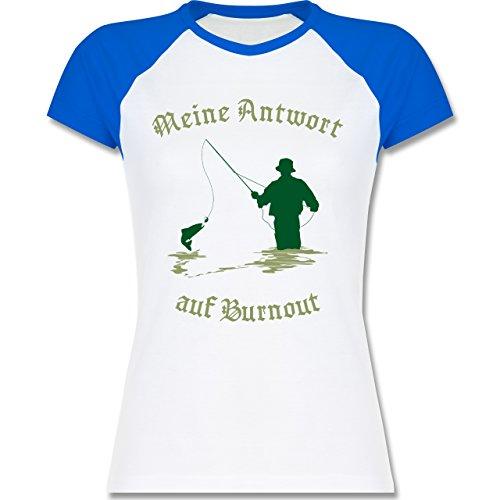 Angeln - Meine Antwort auf Burnout - zweifarbiges Baseballshirt / Raglan T-Shirt für Damen Weiß/Royalblau