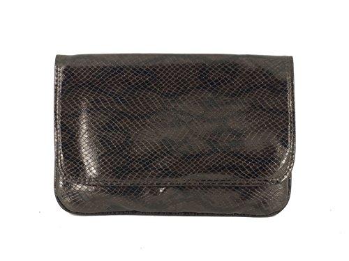 Loni Anweisung Faux Snakeskin Clutch Bag Tan
